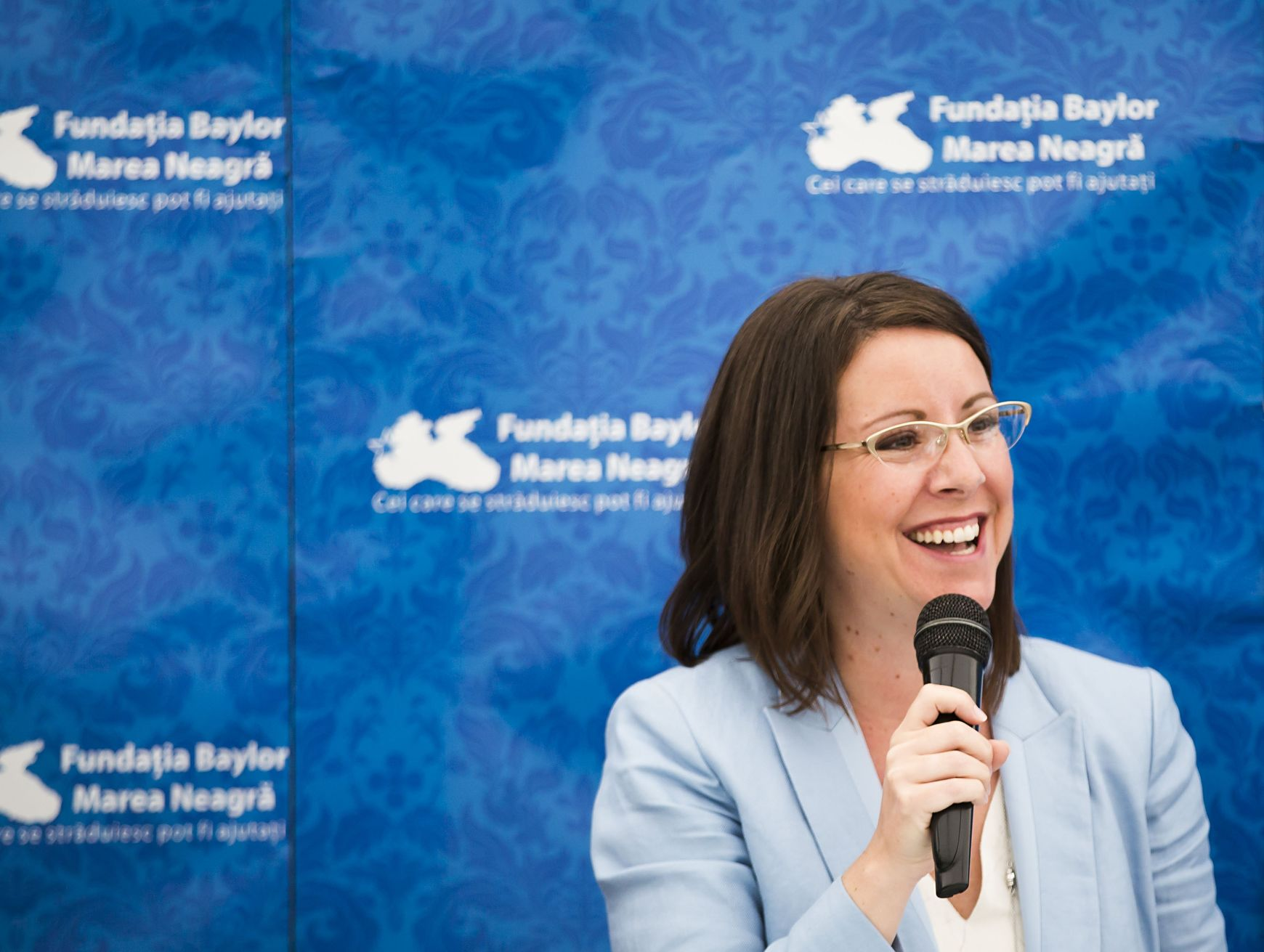 Melissa Walsh, vice president AbbVie Foundation, addresses a celebration of the opening of the expansion of the Baylor Black Sea Foundation Center of Excellence on Tuesday, June 7, 2016, in Constanta, Romania. ( Photo by  Smiley N. Pool / © 2016  )